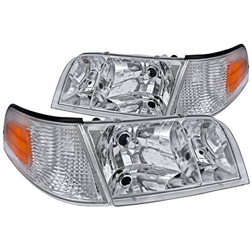 Spec-D Tuning 2LCLH-VIC98-EU Ford Crown Victoria Crystal Chrome Headlights+Clear Amber Corner Lamps