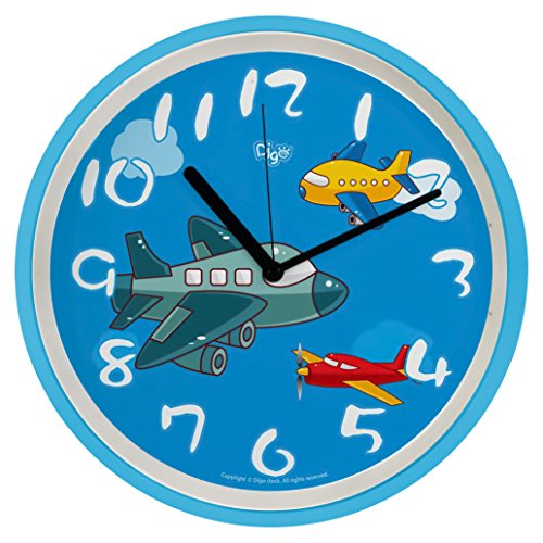 "Airplanes in the Sky 10"" Large Non Ticking Boys Wall Clock for Kids 