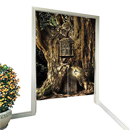 QianHe Noren Doorway Curtain TapestryHouse in Tree Trunk in Forest with Lanterns Folk Stories Themed Design Umber Home Decoration Tapestry for 33.5