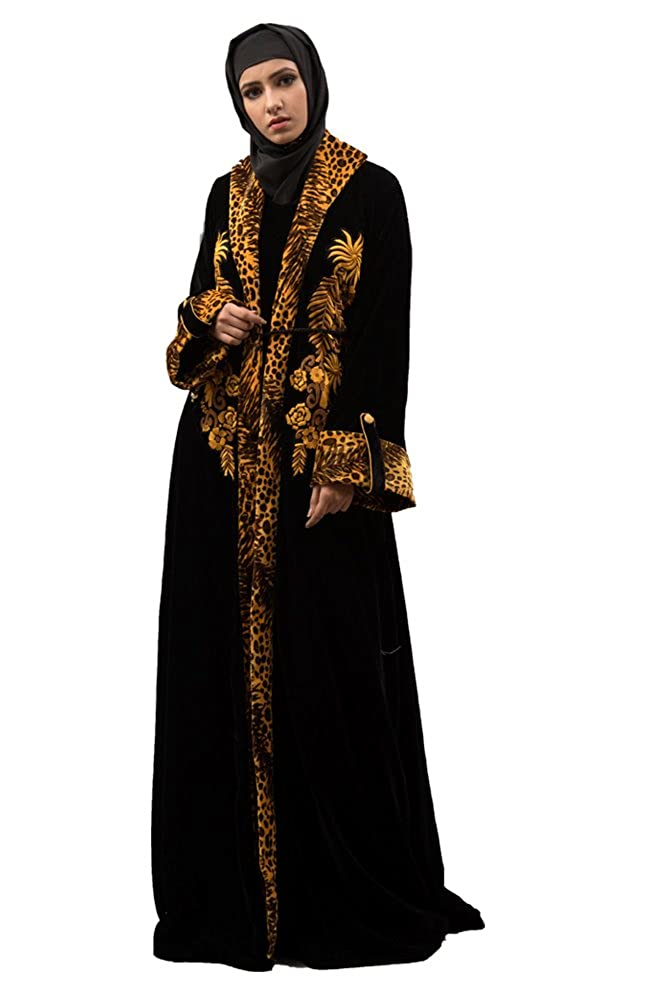 Kolkozy Fashion Women's Embroidered Work Formal Abaya Black
