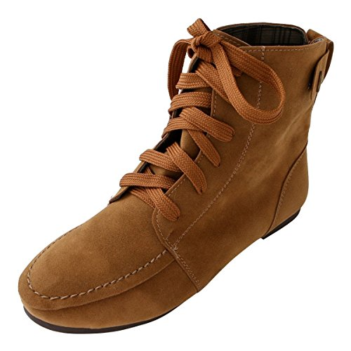 Flat Boots Camel Womens (Henoo Wome Ankle Boots Flat - Faux Fur Casual Short Boots Sneaker Shoes for Ladies,Camel US 10)