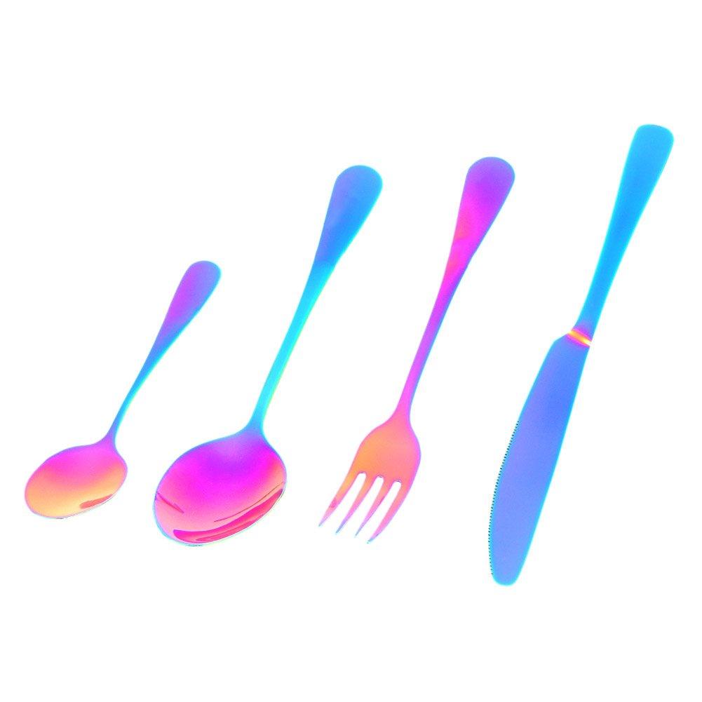 デザートスプーン、4個食器セットステンレススチールナイフフォークスプーン食器by ttnight B077VC3K4F  レインボー