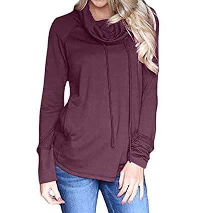Mujer blusa otoño,Sonnena ❤ Blusa cuello camisero mujer manga larga Sudaderas con capucha