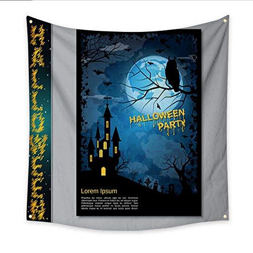 Anniutwo Decor Tapestry Halloween Night Flyer Vector Design Template Bedspread Dorm Accessories Decor 32W x 32L Inch for $<!--$22.90-->