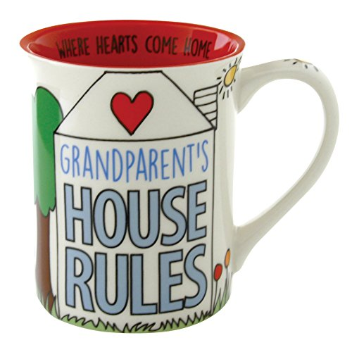 """Our Name is Mud """"Grandparent's House Rules"""" Stoneware Mug, 16 oz."""