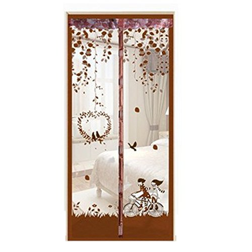Cacys-Store - Durable Anti Mosquito Magnetic Tulle Door Curtain Summer Printed Mesh Door Curtain 90x210cm/100x210cm by Cacys★Store
