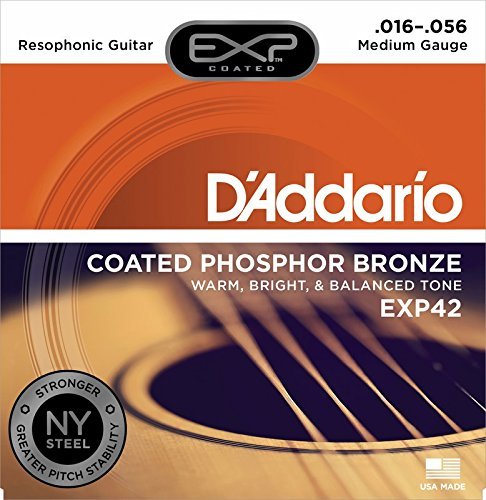(D'Addario EXP42 Coated Phosphor Bronze Acoustic Guitar Strings, Light, 16-56 - Offers a Warm, Bright and Well-Balanced Acoustic Tone and 4x Longer Life - With NY Steel for Strength and Pitch Stability)