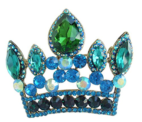 "Sindary Classic 2.56"" Crown Brooch Pin Pendant Austrian Crystal BZ5050 (Gold-Tone Green)"