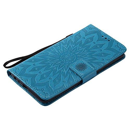 SRY-case Para el caso LG LS775, con cordón, ranura para tarjetas, hebilla magnética y empotrable incorporado Stent Open The Phone Shell ( Color : Blue ) Blue