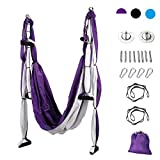 CO-Z Aerial Yoga Swing Sling Strong Yoga Hammock Kit Set Trapeze Inversion Exercises Include Ceiling Mounting Kit and 2 Extensions Straps (Purple)