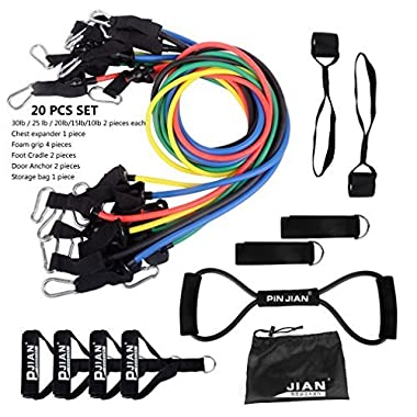 Pinjian Ultimate Resistance Band Set with 10 Heavy Duty Rubber Resistance Bands, Door Anchors, Ankle Straps, Chest Expander, Foam Handles and Storage Bag for Full-body Workout Exercise