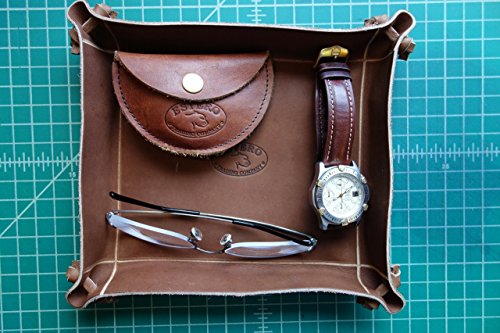 BEAUTIFUL PREMIUM LEATHER VALET TRAY (WALNUT) Exclusively sold on Amazon! MADE IN THE U.S.A.-Groomsmen Gift 8
