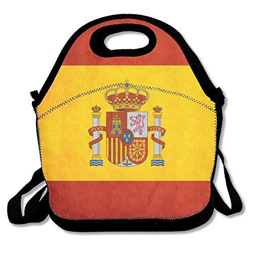 Spain Flag Art Lunch Bags Insulated Travel Picnic Lunchbox Tote Handbag With Shoulder Strap For Women Teens Girls Kids Adults by BESPOKIE