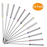 Aorange Fondue Forks, Reusable Fondue Skewers with Heat Resistant Handle, Food Grade Stainless Steel Marshmallow Roasting Sticks, Fondue Forks Set of 12, 9.5 Inch, Different Colored Fondue Forks