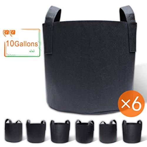 Gardzen 6-Pack 10 Gallon Grow Bags, Aeration Fabric Pots with Handles 5 Gallon Bucket Gardening
