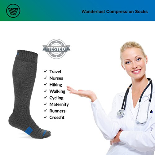 Wanderlust Compression Socks For Men & Women - Guaranteed Support To Eliminate Pain, Swelling, Edema - Best For Flight, Travel, Nurses, Maternity, Pregnancy, Varicose Veins, Stamina & Pain Relief. by Wanderlust (Image #7)