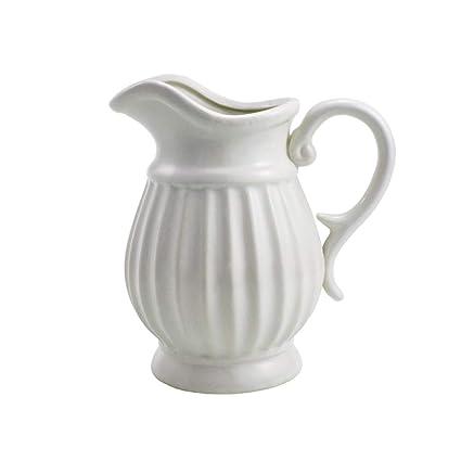 Amazon Dvine Dev 9 Inches Tall White Ceramic Pitcher Vase