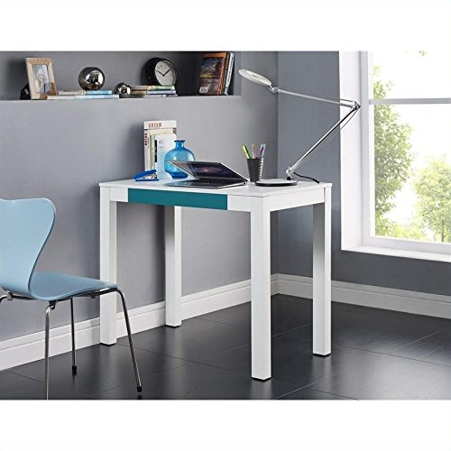 Altra Parsons Desk with Drawer, White/Teal