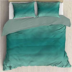 HELLOLEON Ombre 3-Pack (1 Duvet Cover and 2 Pillowcases) Bedding Ocean Waves Theme Polyester (Queen)