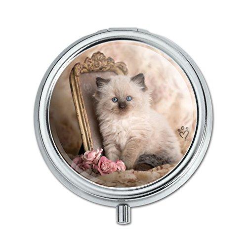 (Ragdoll Tiffany Cat Kitten Victorian Roses Pill Case Trinket Gift Box)