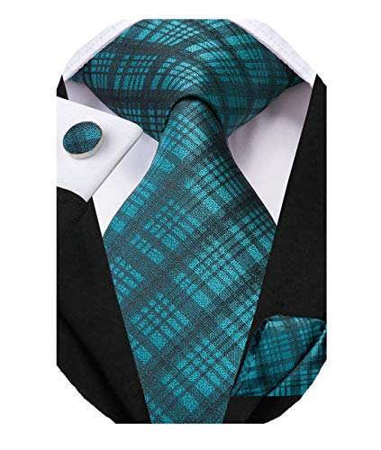 Dubulle Mens Teal Plaid Tie and Pocket Square with Cufflinks for Business
