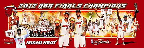 Basketball Miami Heat 2012 NBA Finals - 12x36 Panoramic Photo. Frame Dimensions 13.5 x39 Deluxe Double Matted with Black Metal Frame #3002 - Deluxe Frame Miami Heat