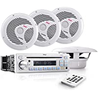 Pyle Stereo Radio Headunit Receiver & Waterproof Speaker Kit, Aux (3.5mm) MP3 Input, USB/MP3 Reader, CD Player, Remote Control, Includes (4) 6.5 Speakers, Single DIN (White)