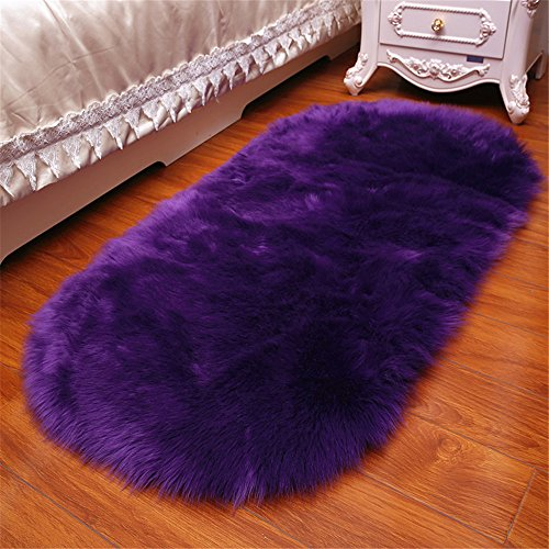 CHITONE Long Faux Fur Artificial Skin Rectangle Fluffy Chair Seat Sofa Cover Carpet Mat Oval Shaggy Area Rug Living Bedroom Home Decoration (2ft x 3ft, Purple) (Faux Purple Fur Rug)