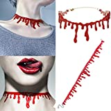JUNGSON--DIY Halloween Cutting Bloodstain Womens Mens Necklace Choker Cosplay Party Decor