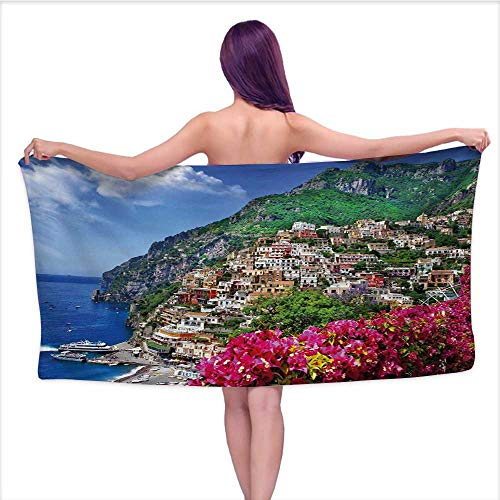 Onefzc Beach Chair Towel Italy Scenic View of Positano Amalfi Naples Blooming Flowers Coastal Village Image for Family Guest Bathrooms Gym W35 x L12 Pink Green Blue