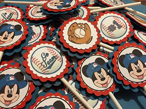 Inspired Mickey Mouse Baseball Cupcake Toppers (12) - Mickey Mouse Baseball