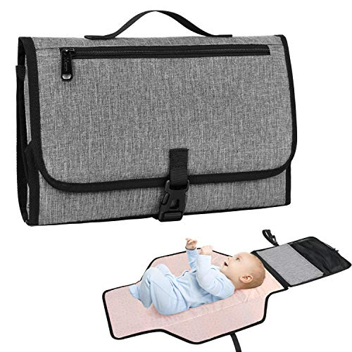 Baby Portable Changing Pad, Waterproof Wipeable Diaper Changing Pad, Mom, Dad and Baby Shower Gifts, Mancro Foldable Detachable Travel Changing Mat with Head Cushion, Built-in Large Pockets, Grey