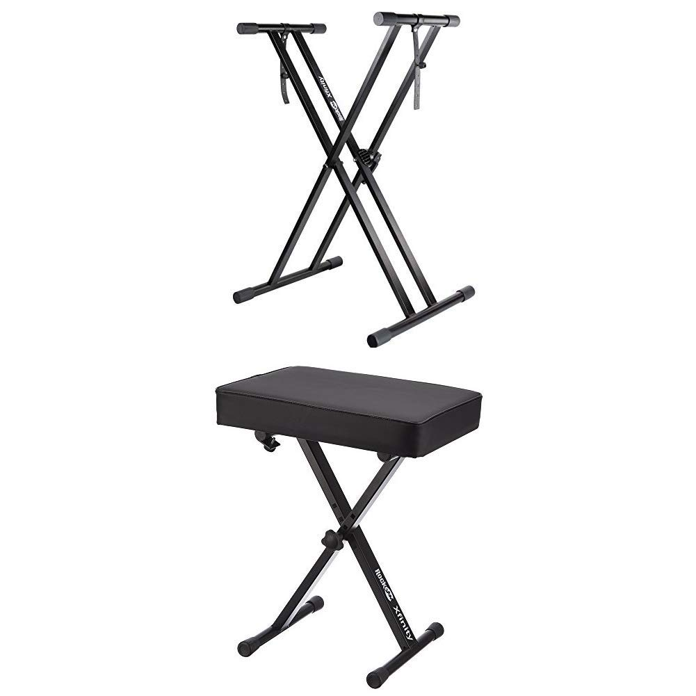 RockJam Xfinity Heavy-Duty, Double-X, Adjustable Piano Keyboard Stand with KB100 Padded Keyboard Bench