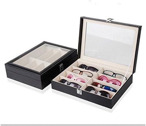 Caja de cuero negra 8 ranuras para los vidrios de Sunglass de la lente