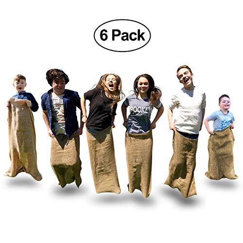 Elite Potato Sack Race Bags - 6 Quality Sack Race Bags for Kids Birthday Party Games, and Comes With a Compact Bag for Easy Storage. Great Family Games -