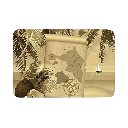 C COABALLA Island Map Durable Door Mat,Monochrome Retro Treasure Map on a Tropical Escape Sandy Beach with Palms Exotic for Living Room,17.7
