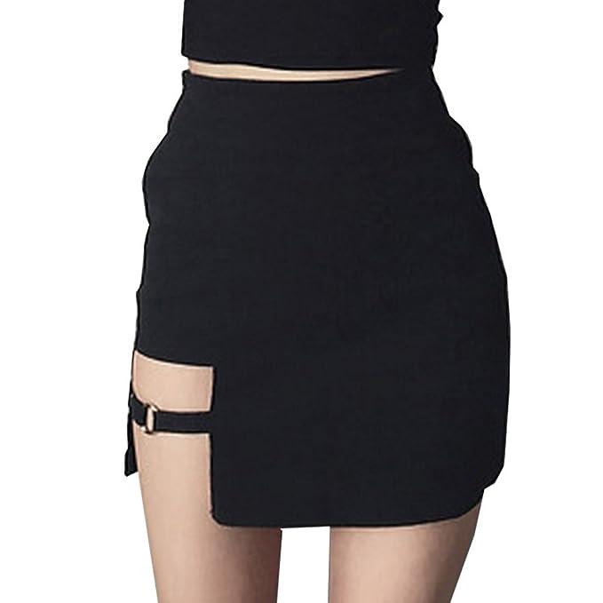 Mujeres Falda Asimétrica - Sexy Slim Fit Minifalda Moda Cintura Alta A-lìnea Skirt Casual Fiesta Club Falda Clubwear para Verano Primavera Negro S M: ...