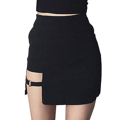 c8d65f134a52ba Femme Mini Jupe - Sexy Asymétrique Taille Haute A-Ligne Jupe Couleur ...