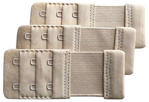 Chanie Women Pack of 3 Soft Comfortable 2 Hooks Bra Extender,3.6