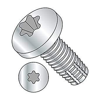 Zinc Plated Finish Star Drive Type F Steel Thread Cutting Screw Pan Head 5//8 Length #6-32 Thread Size Pack of 100