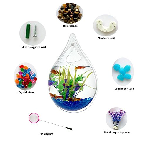 Hofumix Wall Hanging Fish Tank Acrylic Fish Bubble Water Drop Type Flower Pot with Fake Plants 9.4in by Hofumix