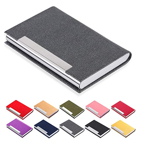 Business Card Holder, JuneLsy Business Card Case Luxury PU Leather and Stainless Steel Card Holder for Men and Women with Magnetic Shut Keep Business Cards Clean (Gray)
