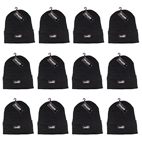 Beanie Mens Casual Hats - Gelante 3M Thinsulate Women Men Knitted Thermal Winter Cap Casual Beanies-Wholesale Lot 12 Packs-Black