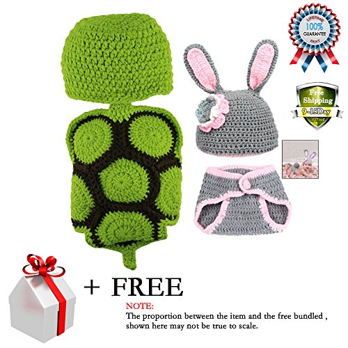 Baby Consumer Crochet Clothes Photo Prop Outfits Photography Rabbit Turtle for Boys Girls 2-8 Months 2 Pack (Halloween Costumes Stores In Nj)