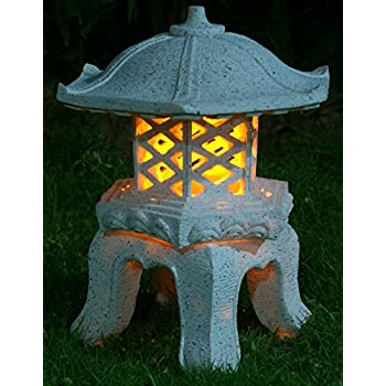 "Amazon.com: TIAAN 14""height Japanese Style Lantern Solar Garden ..."