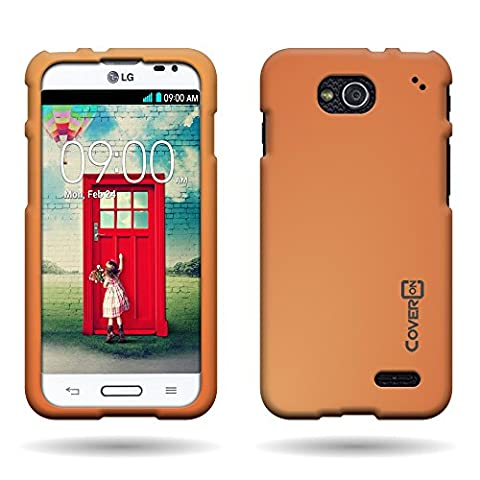 CoverON® Hard Rubberized Slim Case for LG Optimus L90 - with Cover Removal Pry Tool - Neon Orange (Covers Lg Optimus L90)