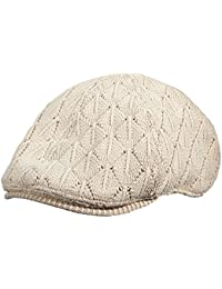 OFF WHITE CASUAL KNIT COTTON SATIN LINED IVY CAP (SA121)