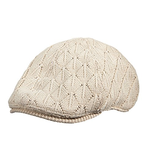 STACY ADAMS OFF WHITE CASUAL KNIT COTTON SATIN LINED IVY CAP (SA121) (LARGE/EXTRA LARGE)