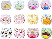 12 Pcs Baby Boys Girls Toddler Toilet Pee Potty Training Pants Cartton Underwear