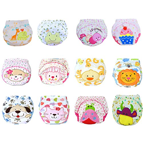 12 Pcs Baby Boys Girls Toddler Toilet Pee Potty Training Pants Cartton Underwear Size S
